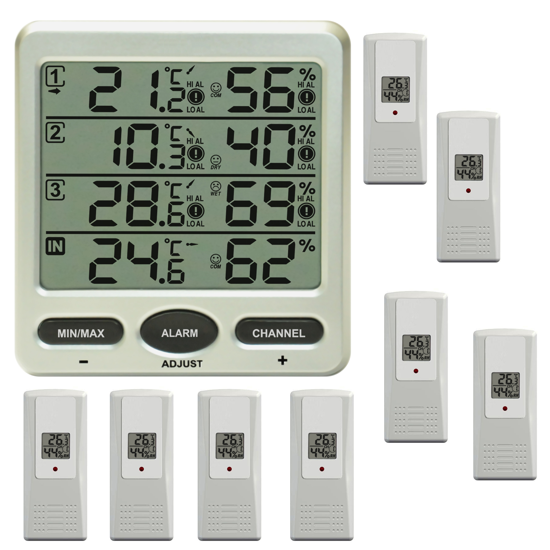funk thermometer ft0073 mit 8 aussensensoren luftfeuchte. Black Bedroom Furniture Sets. Home Design Ideas