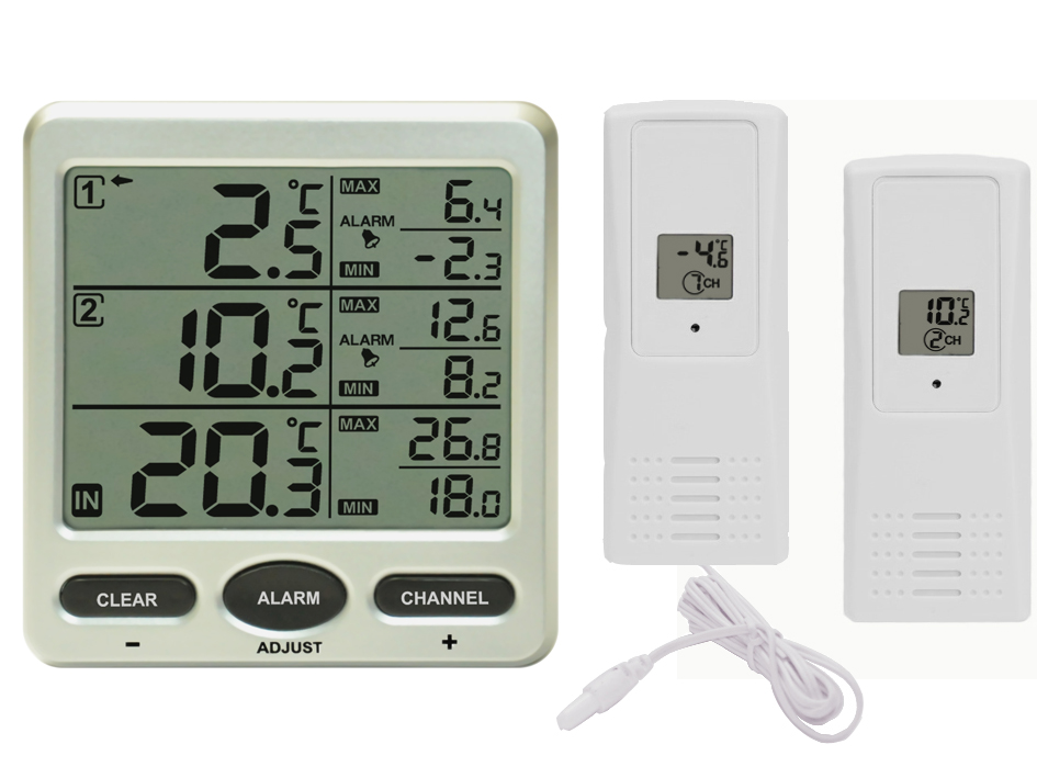 funk thermometer ft0075 mit 2 funksensoren lcd display min max kabelsonde ebay. Black Bedroom Furniture Sets. Home Design Ideas
