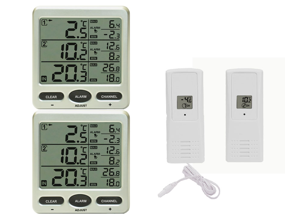 funk thermometer ft0075twin mit 2 funksensoren lcd display min max ebay. Black Bedroom Furniture Sets. Home Design Ideas