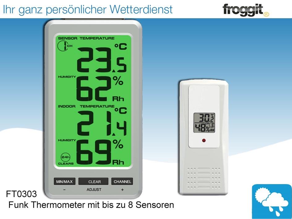 funk thermometer ft0303 mit bis zu 8 innen. Black Bedroom Furniture Sets. Home Design Ideas