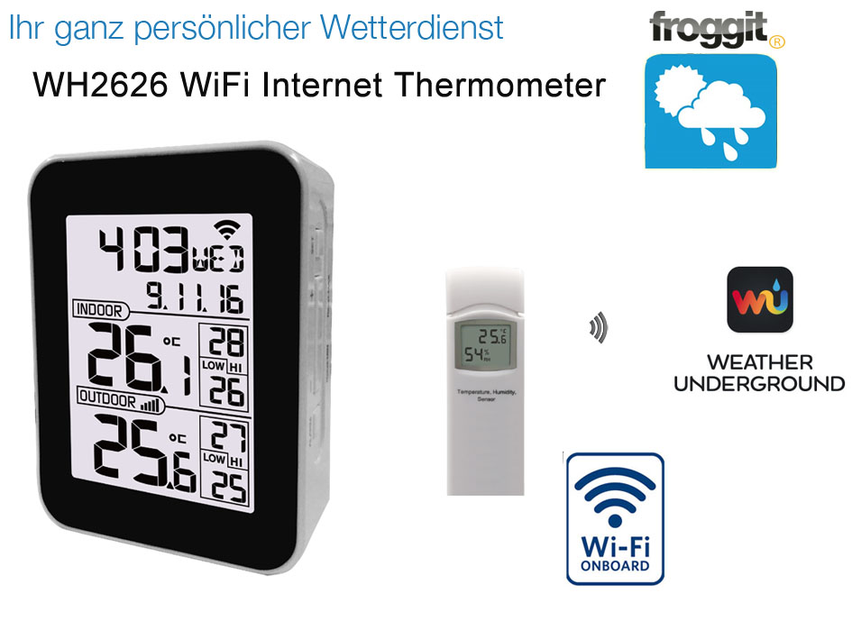 Froggit wh2626 wifi internet funk thermometer wetterserver anbindung app ebay - Thermometre connecte wifi ...