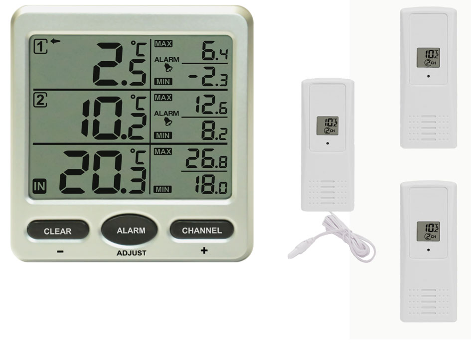 funk thermometer ft0075 mit 3 funksensoren lcd display min. Black Bedroom Furniture Sets. Home Design Ideas