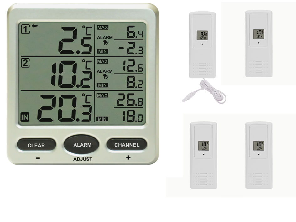 Funk Thermometer FT0075 mit 4 Funksensoren LCD Display Min