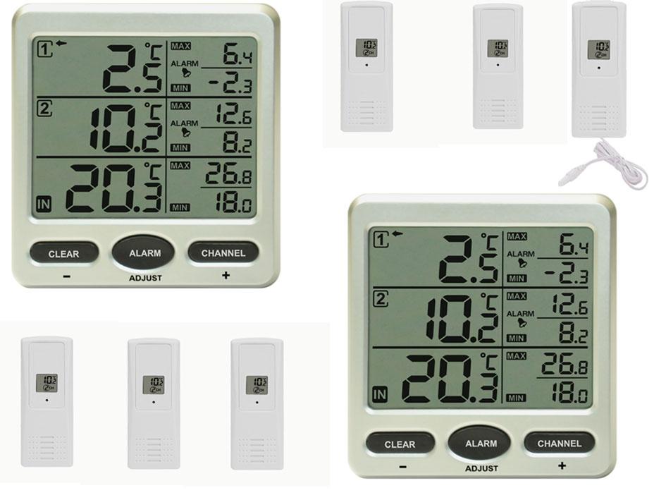funk thermometer ft0075 twin 2 lcd displays 6 funksensoren 1 kabelsonde ebay. Black Bedroom Furniture Sets. Home Design Ideas