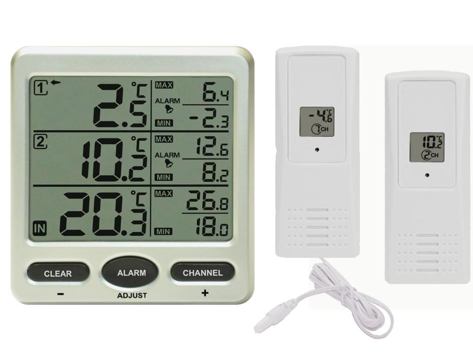Kühlschrank Thermometer Digital : Funk thermometer ft mit funksensoren lcd display min max