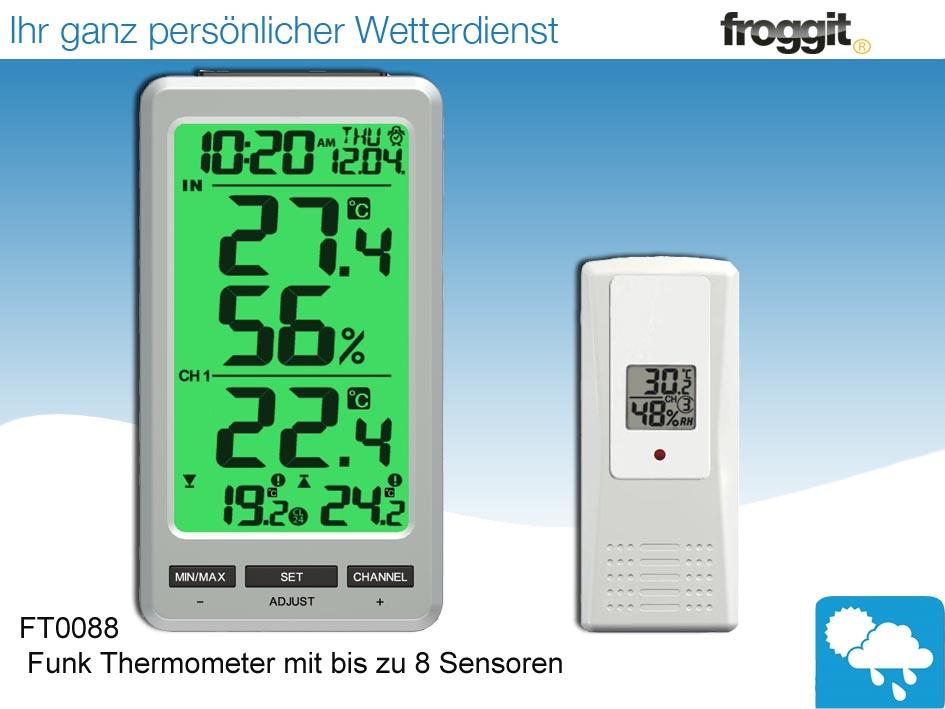 funk thermometer ft0088 inkl 1 funksensor temperatur luftfeuchte ebay. Black Bedroom Furniture Sets. Home Design Ideas