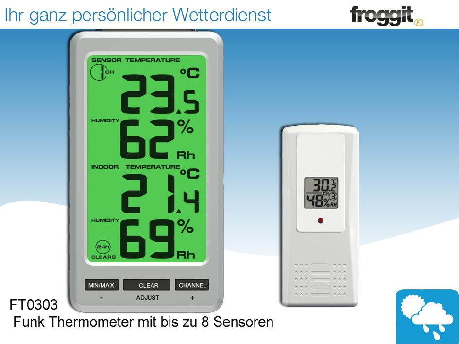 funk thermometer ft0303 mit bis zu 8 innen aussensensoren wetterstation ebay. Black Bedroom Furniture Sets. Home Design Ideas