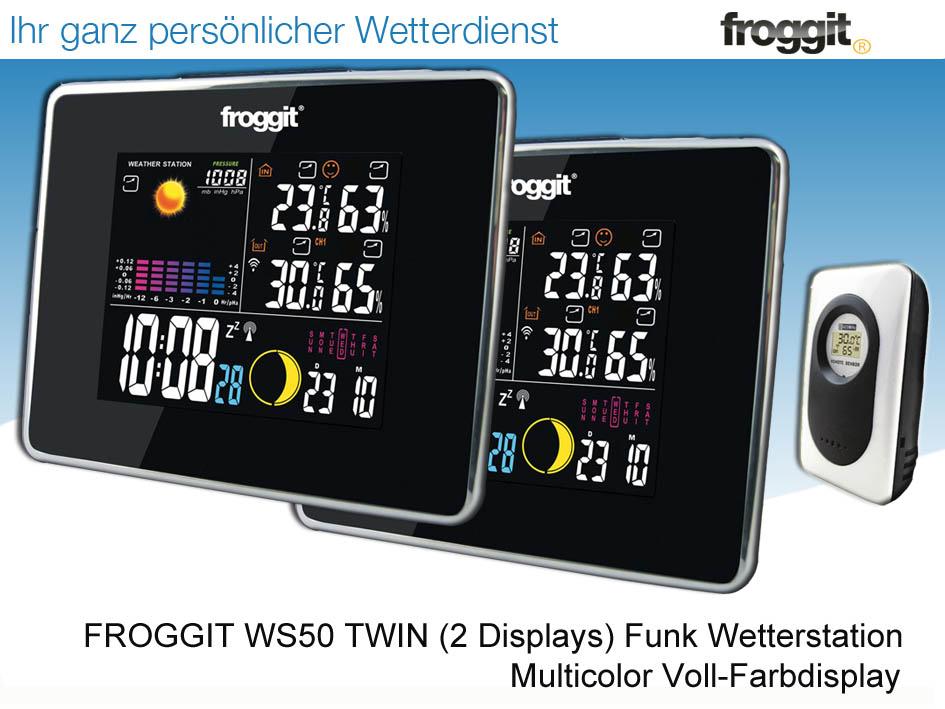 Funkuhr Wecker Funk Wetterstation Froggit WS50 Schwarz Full Color Display