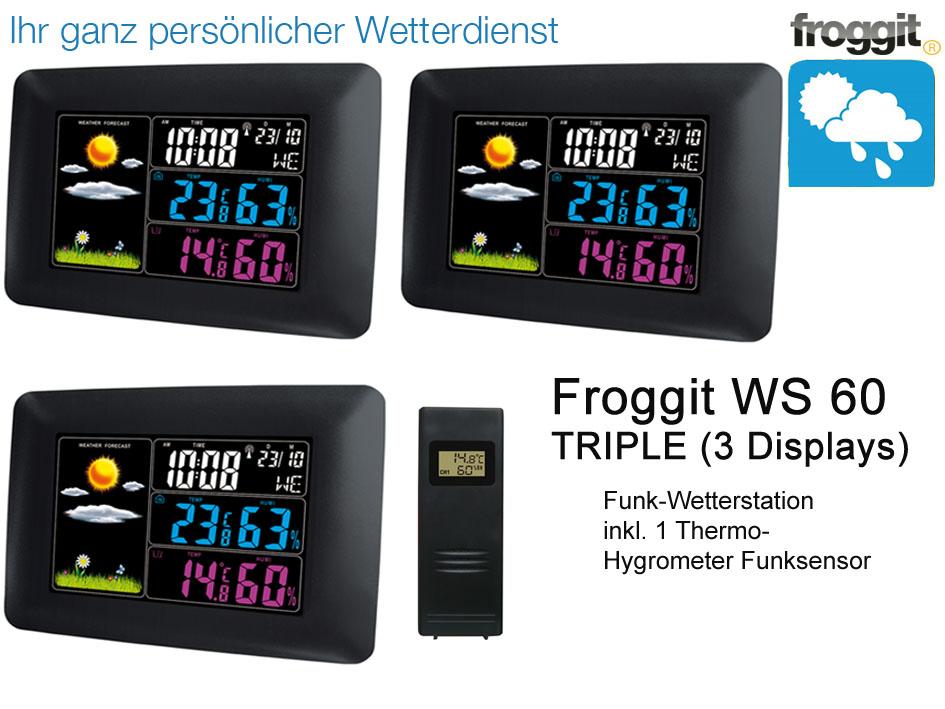 Funkuhr Wecker Wettervorhersage Funk Farb Wetterstation WS60 Funksensor
