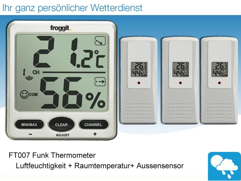 funk thermometer ft007 mit 3 aussensensoren digital. Black Bedroom Furniture Sets. Home Design Ideas