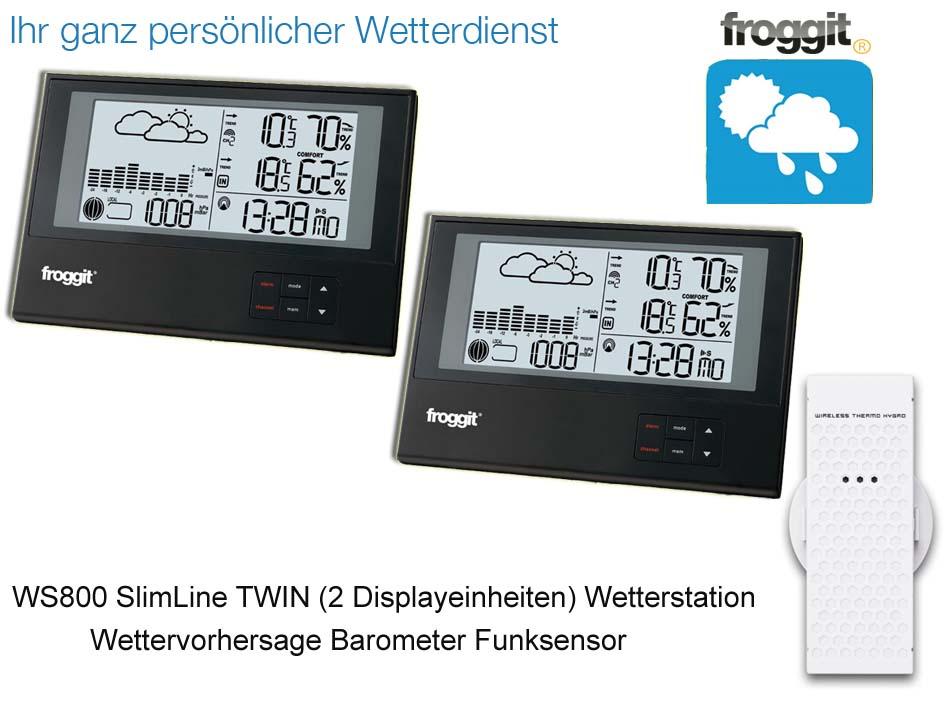Radio station météo ws800 triple avec 3 funksensoren slimline baromètre